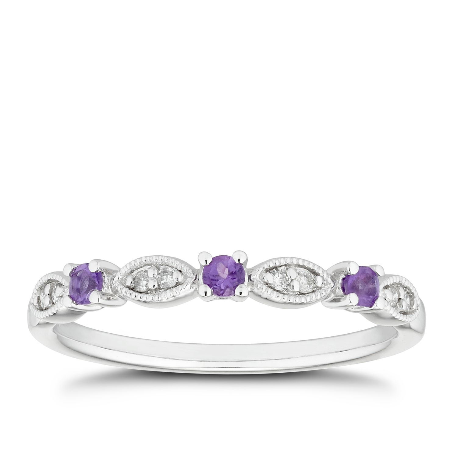 9ct White Gold Diamond & Amethyst Vintage Eternity Ring - Product number 5157900