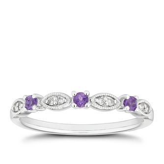 9ct White Gold Amethyst & Diamond Vintage Eternity Ring - Product number 5157900