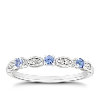 9ct White Gold Diamond & Tanzanite Vintage Eternity Ring - Product number 5158516