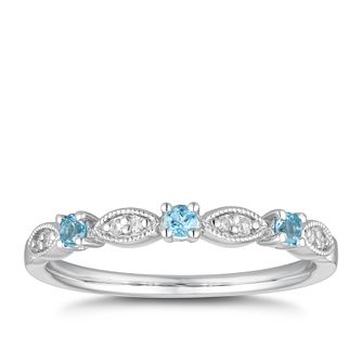 9ct White Gold Blue Topaz & Diamond Vintage Eternity Ring - Product number 5158850