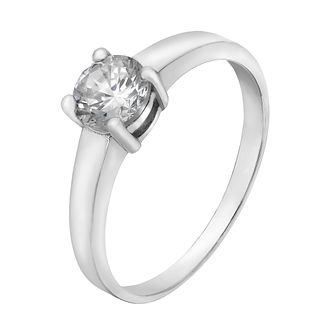Sterling Silver & Cubic Zirconia Solitaire Ring Size M - Product number 5159261