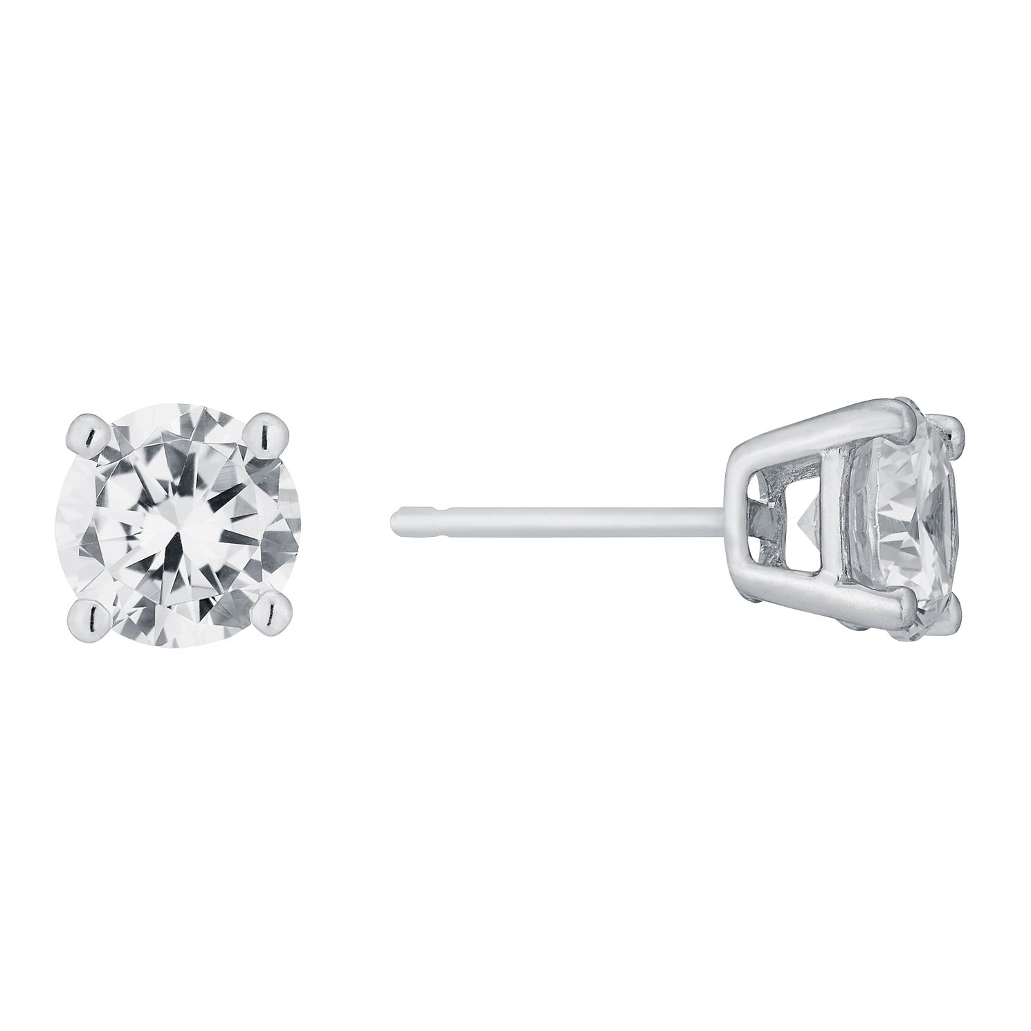 9ct White Gold Cubic Zirconia 6mm Stud Earrings - Product number 5164842