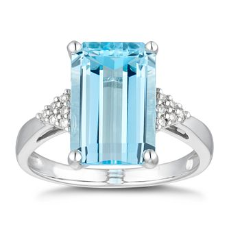 9ct White Gold Blue Topaz & Diamond Ring - Product number 5167108