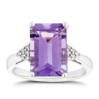 9ct White Gold Amethyst & Diamond Shoulder Ring - Product number 5168104