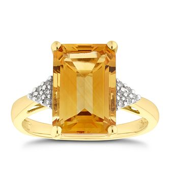9ct Yellow Gold Citrine & Diamond Shoulder Ring - Product number 5169224