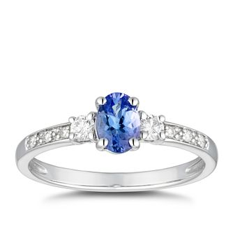 9ct White Gold Oval Tanzanite & 0.14ct Diamond Ring - Product number 5169720