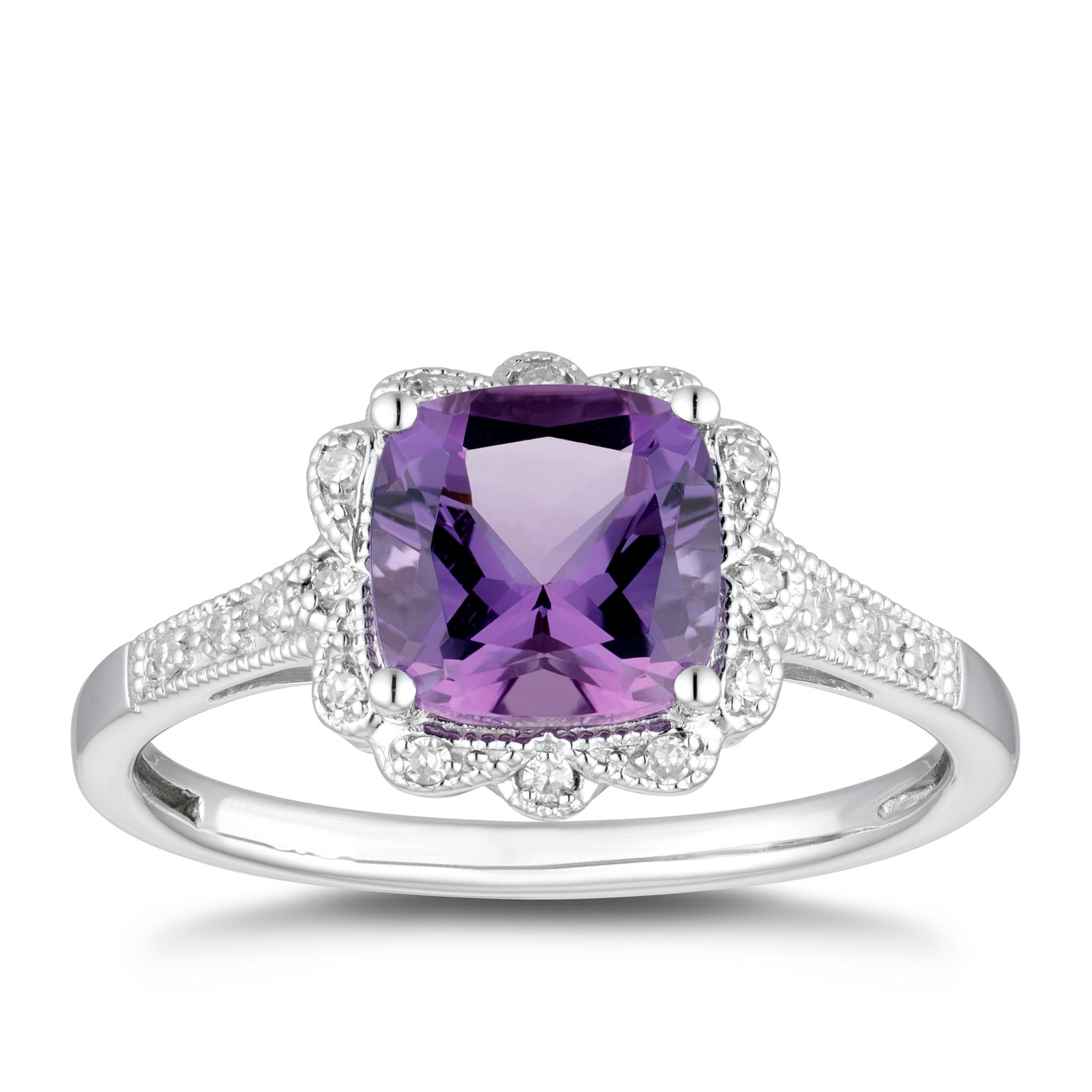 9ct White Gold Amethyst & Diamond Vintage Ring - Product number 5169887