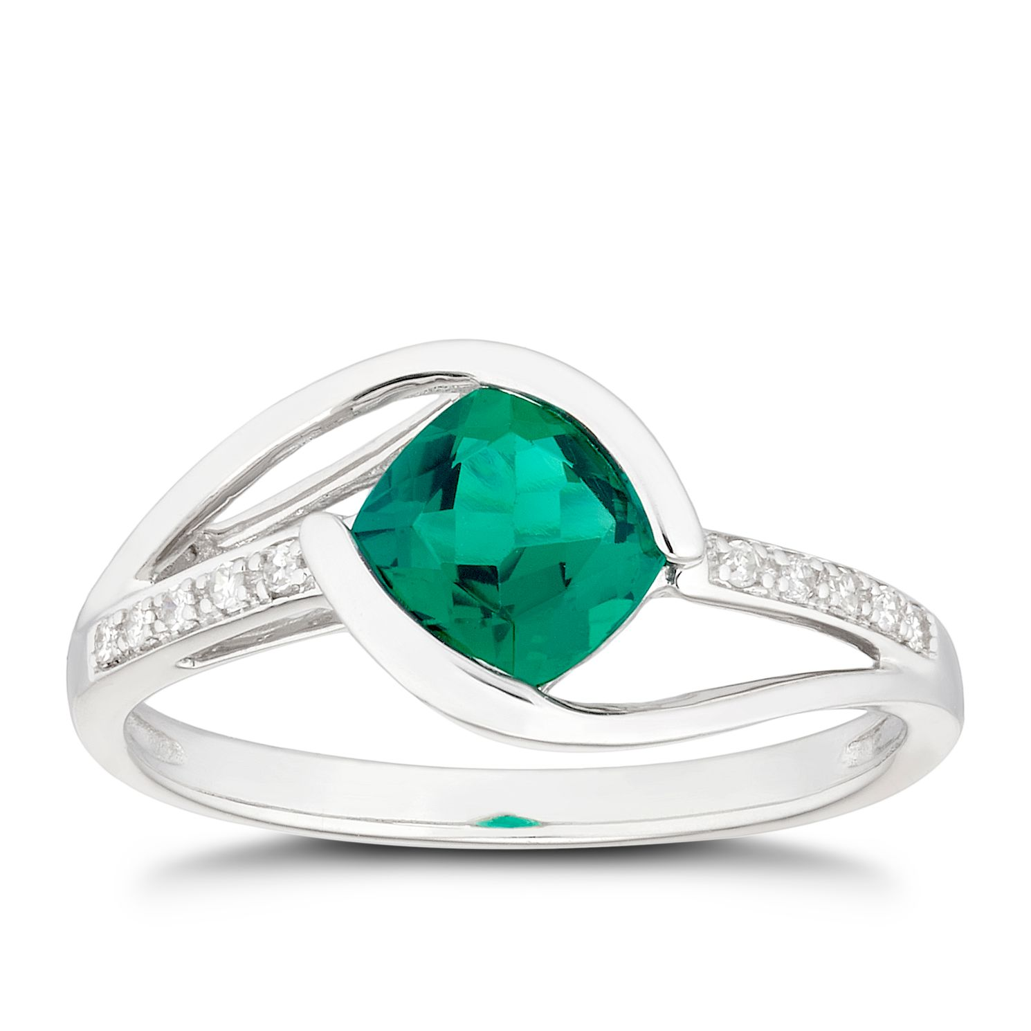 9ct White Gold Created Emerald & Diamond Twist Ring - Product number 5170915