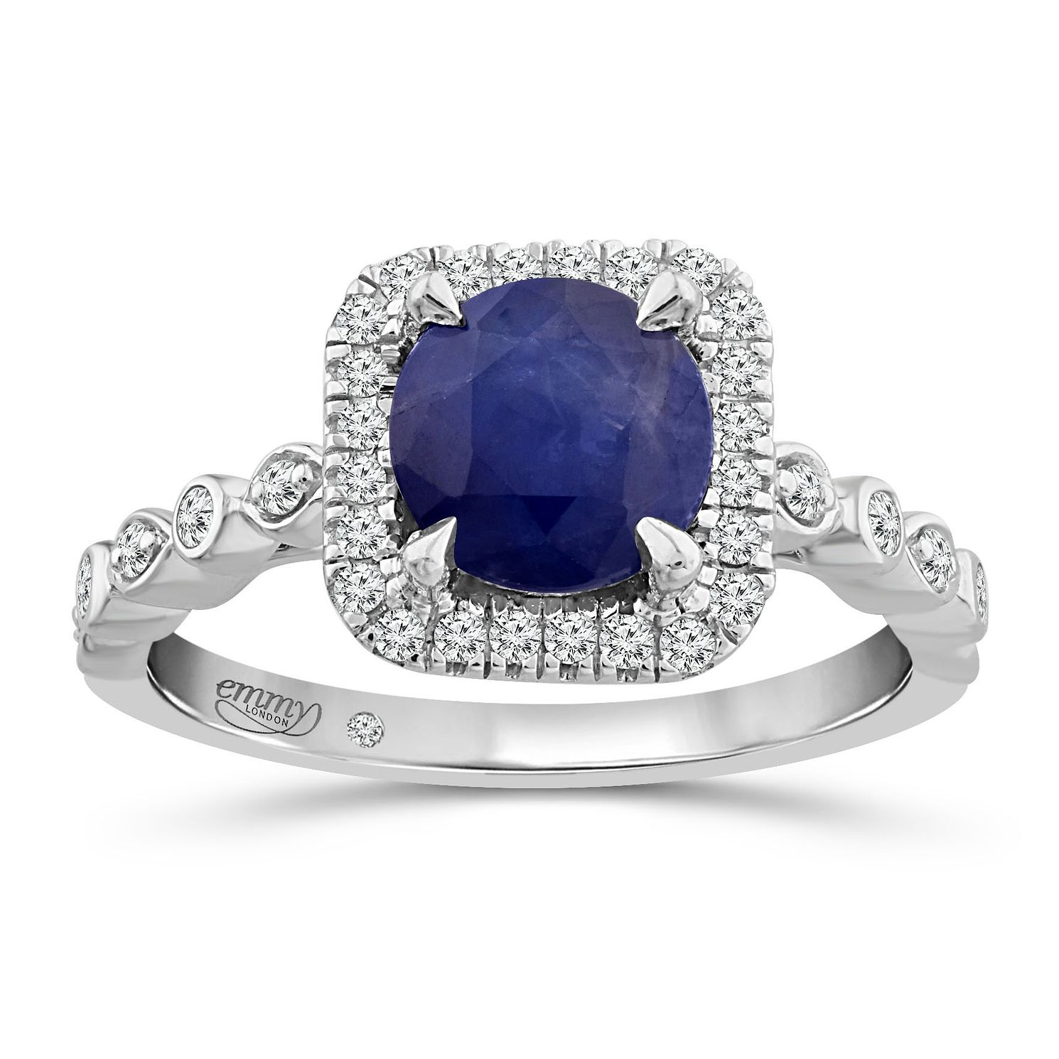 Emmy London 18ct White Gold Sapphire & 1/5ct Diamond Ring - Product number 5171237