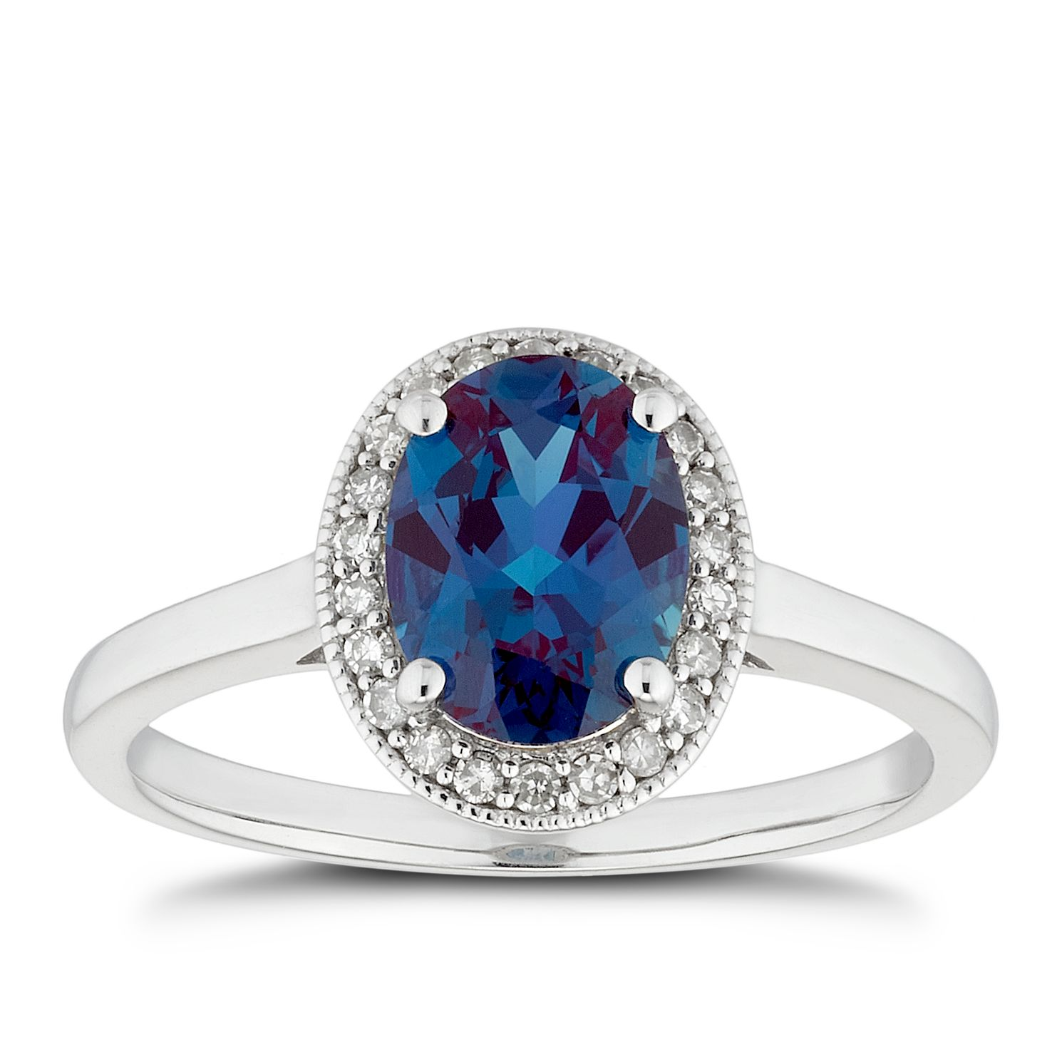 9ct White Gold Created Alexandrite & Diamond Oval Halo Ring - Product number 5171563