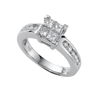 18ct white gold 1ct princess cut diamond ring - Product number 5172063
