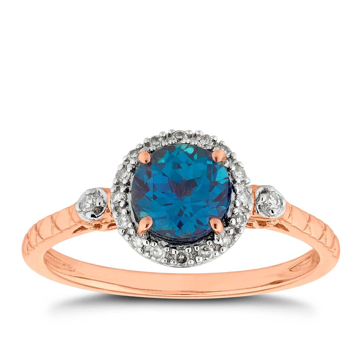 9ct Rose Gold Created Alexandrite & Diamond Round Halo Ring - Product number 5172209