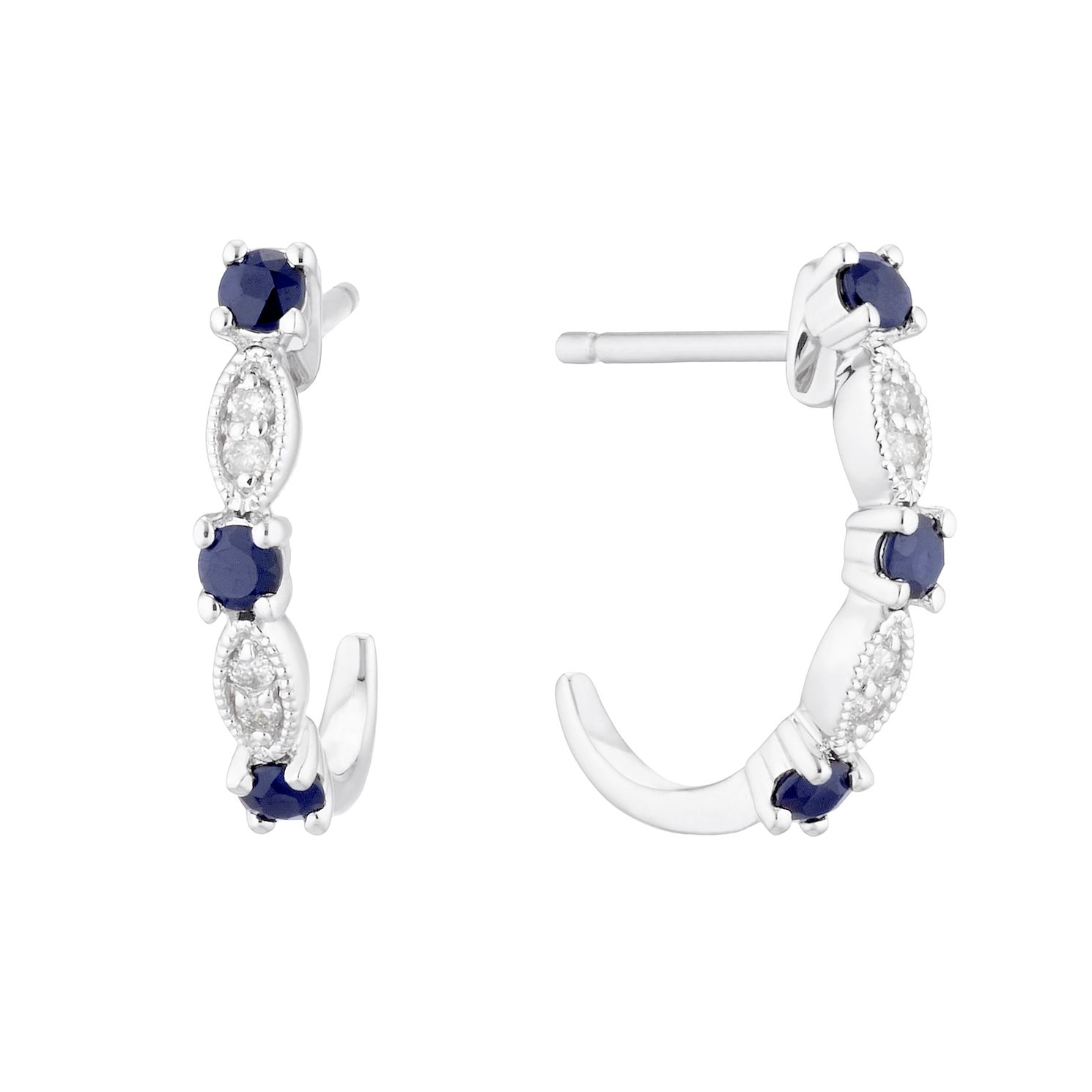 9ct White Gold Sapphire & Diamond Hoop Earrings - Product number 5173299