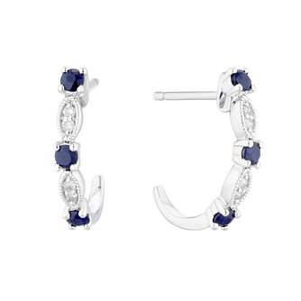 9ct White Gold Sapphire & Diamond Vintage Hoop Earrings - Product number 5173299