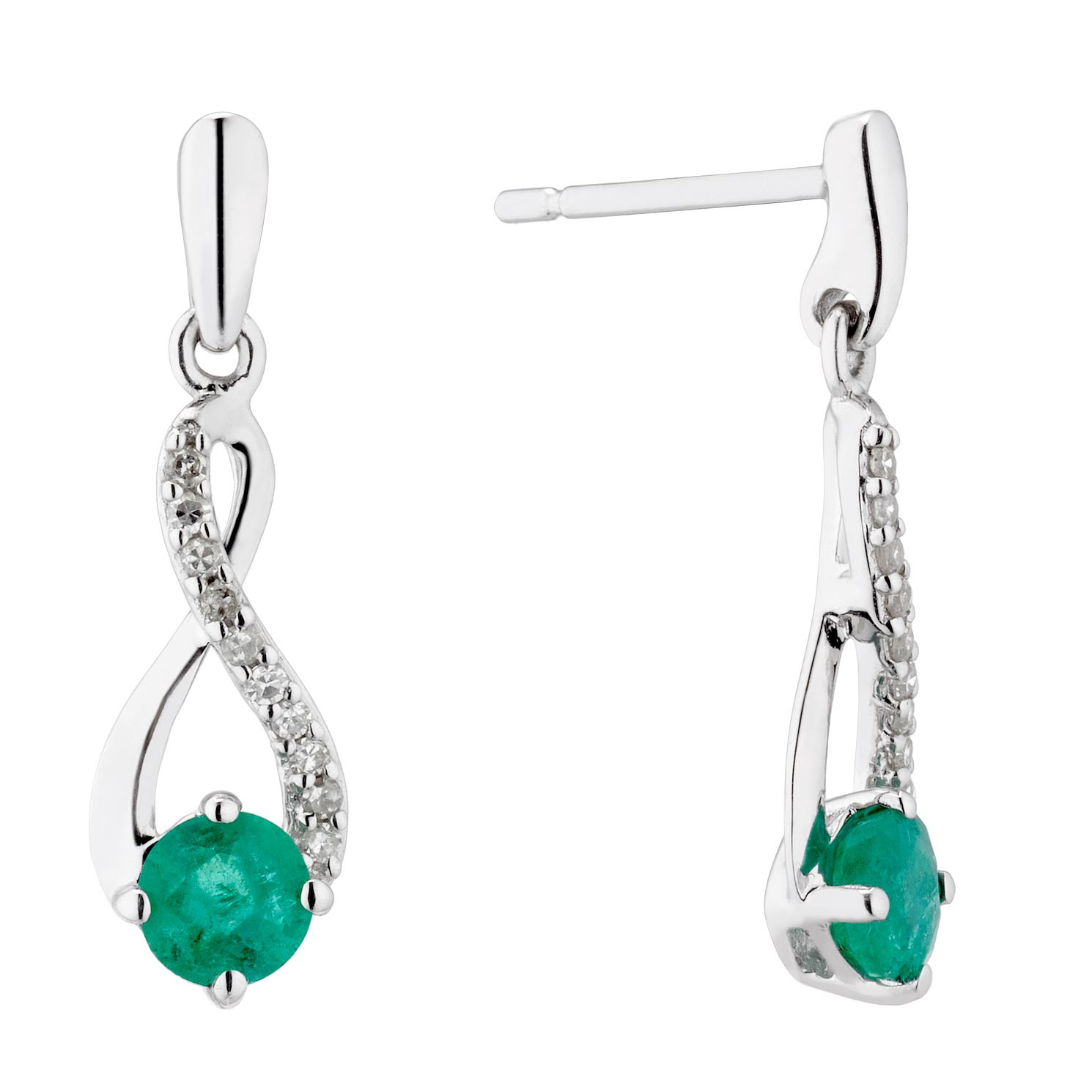 9ct White Gold Emerald & Diamond Infinity Stud Earrings - Product number 5173361