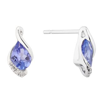 9ct White Gold Tanzanite & Diamond Fancy Stud Earrings - Product number 5173396