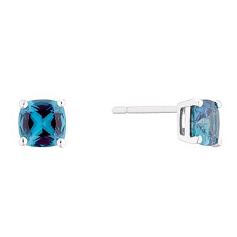 9ct White Gold Created Alexandrite Cushion 5mm Stud Earrings - Product number 5173418