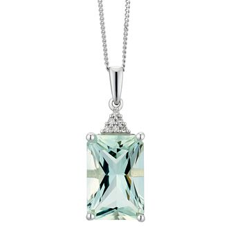 9ct White Gold Green Amethyst & Diamond Pendant - Product number 5174899
