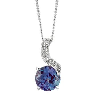 9ct White Gold Created Alexandrite & Diamond Swirl Pendant - Product number 5177693