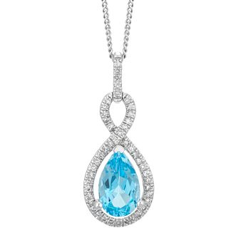 9ct White Gold Blue Topaz & 0.10ct Diamond Pendant - Product number 5177707