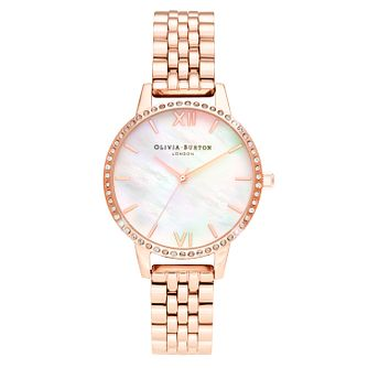 Olivia Burton Crystal Bezel Rose Gold Tone Bracelet Watch - Product number 5179343