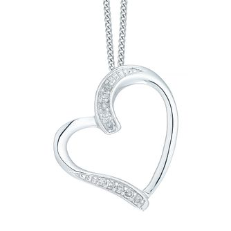 9ct White Gold Diamond Heart Pendant - Product number 5179904