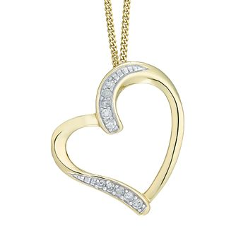 9ct Yellow Gold Diamond Heart Pendant - Product number 5179939