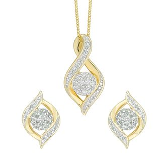 9ct Yellow Gold 0.15ct Diamond Jewellery Set - Product number 5179955