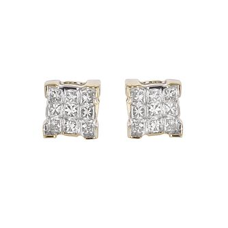 18ct Yellow Gold 1/5ct Princess-Cut Diamond Stud Earrings - Product number 5180104