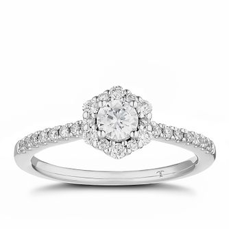 Tolkowsky 18ct White Gold 1.2ct Diamond Hexagon Halo Ring - Product number 5182352