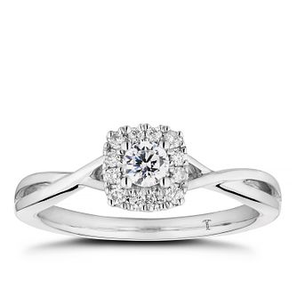Tolkowsky 18ct White Gold 0.30ct Diamond Cushion Halo Ring - Product number 5186560
