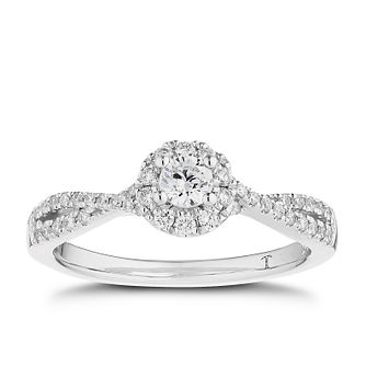 Tolkowsky 18ct White Gold 0.40ct Total Diamond Halo Ring - Product number 5186714