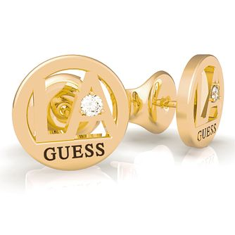 Guess LA Yellow Gold Tone Swarovski Zirconia Stud Earrings - Product number 5189829