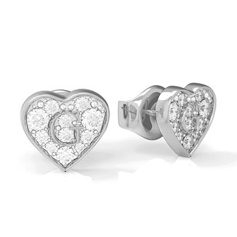 Guess G-Shine Silver Tone Swarovski Zirconia Stud Earrings - Product number 5189845
