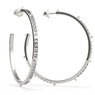 Guess Rebel Silver Tone Swarovski Zirconia 3/4 Hoop Earrings - Product number 5189888