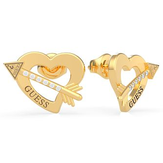 Guess Across My Heart Gold Tone Swarovski Zirconia Earrings - Product number 5189969