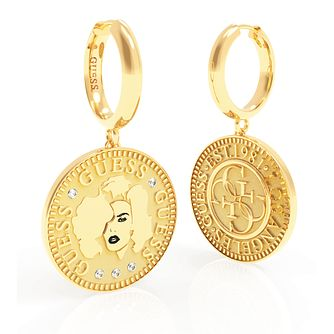 Guess Coin Yellow Gold Tone Swarovski Zirconia Hoop Earrings - Product number 5189993