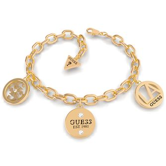 Guess LA Yellow Gold Tone Swarovski Zirconia Chain Bracelet - Product number 5190134