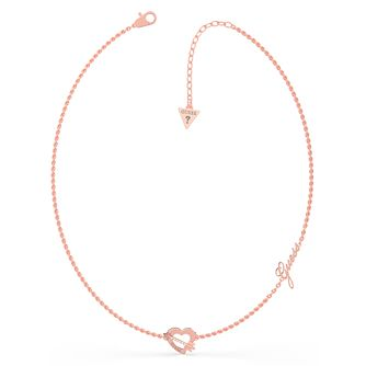 Guess Across My Heart Gold Tone Swarovski Zirconia Necklace - Product number 5190525