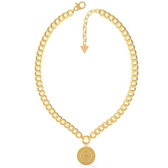 Guess Coin Yellow Gold Tone Chain Pendant - Product number 5190533