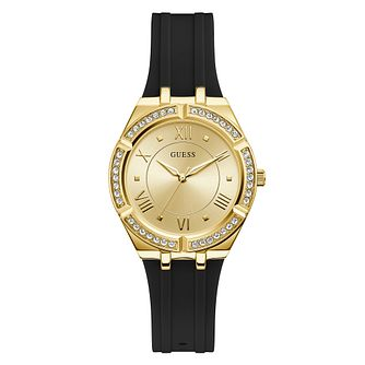 Guess Cosmo Crystal Ladies' Black Silicone Strap Watch - Product number 5190878