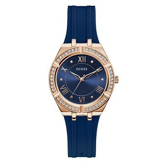 Guess Cosmo Crystal Ladies' Blue Silicone Strap Watch - Product number 5190940