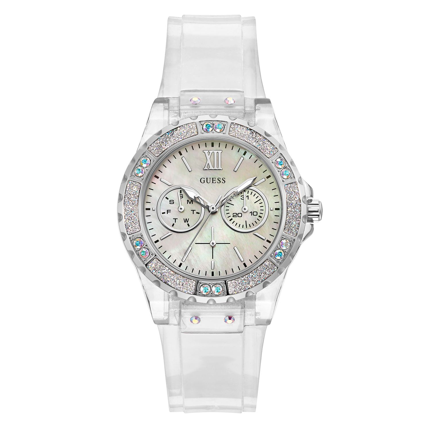 Guess Limelight Crystal Ladies' Clear PU Strap Watch - Product number 5190967
