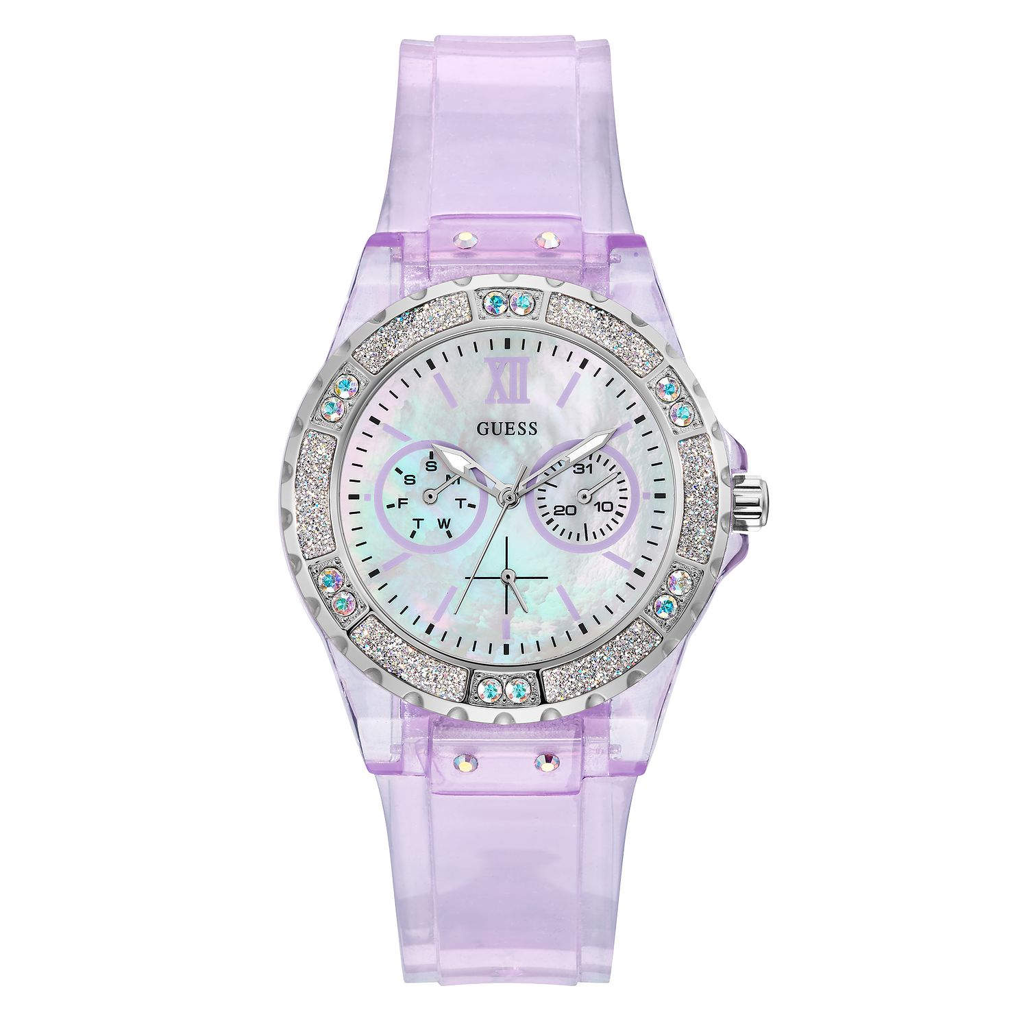 Guess Limelight Crystal Ladies' Purple PU Strap Watch - Product number 5190983
