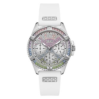 Guess Lady Frontier Crystal White Silicone Watch - Product number 5191017