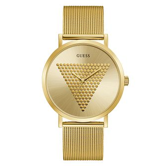 Guess Imprint Men's Gold Tone Mesh Bracelet Watch - Product number 5191173