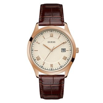 Guess Element Men's Brown Leather Strap Watch - Product number 5191262