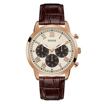 Guess Hendrix Men's Brown Leather Strap Watch - Product number 5191297