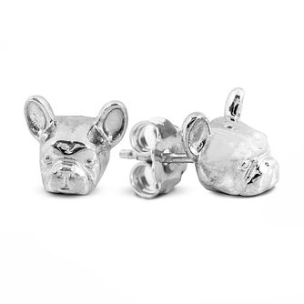 Dog Fever Silver French Bulldog Muzzle Stud Earrings - Product number 5194636