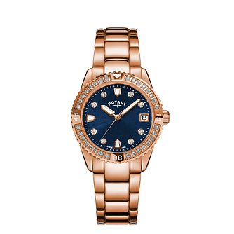 Rotary Crystal Ladies' Rose Gold Tone Bracelet Watch - Product number 5197988